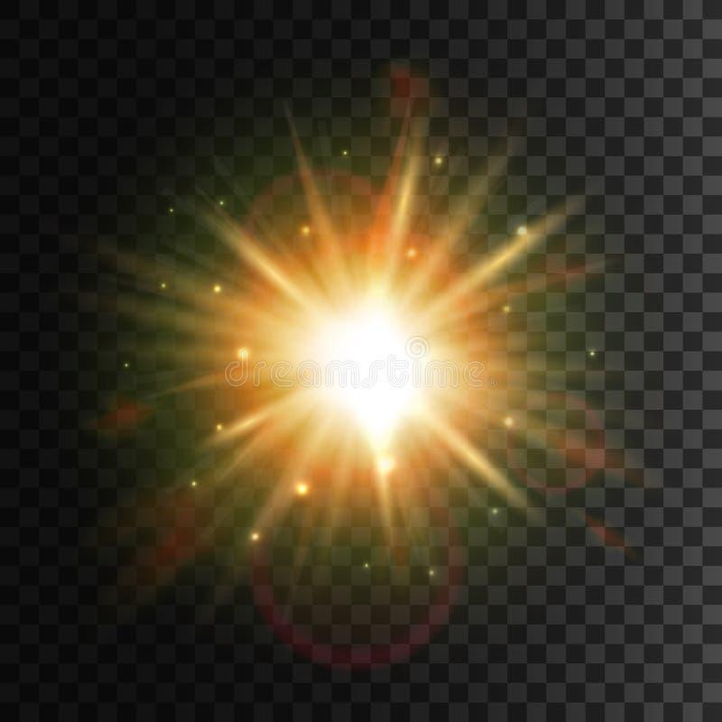 Olśniewająca gwiazda Jaskrawy słońca światła obiektywu racy skutek ilustracji