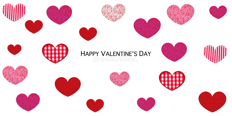 Olśniewająca różowa i czerwona serce kartka z pozdrowieniami Szczęśliwa walentynka dnia karta z miłość walentynek sercami ilustracja wektor