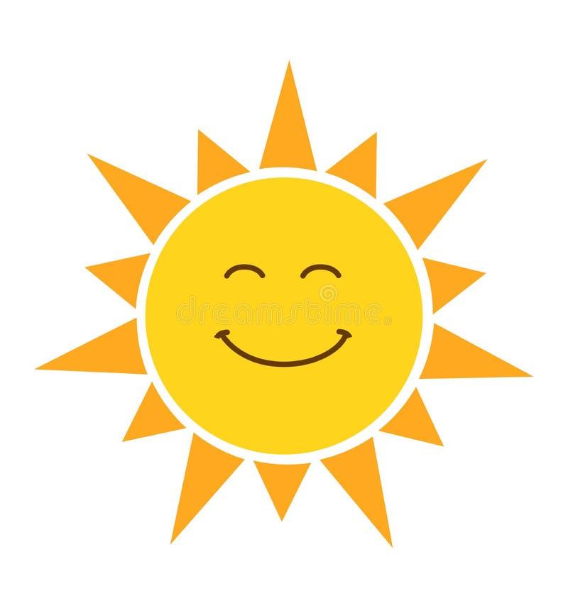 Olśniewającego żółtego uśmiechniętego słońca wektorowa ilustracja odizolowywająca na bielu ilustracja wektor