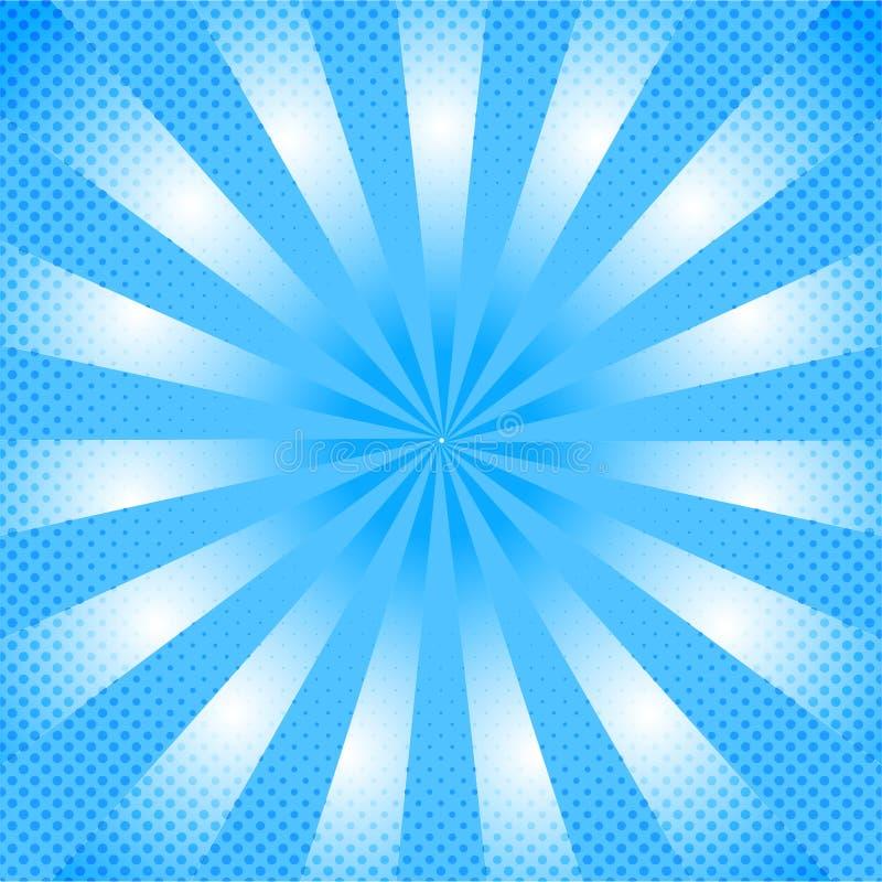 Olśniewający Błękitny Komiczny tło z zoomu Halftone i skutka kropek wzorem royalty ilustracja