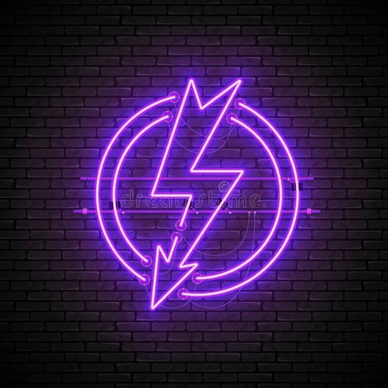 Olśniewający i rozjarzony purpurowy błyskawicowy neonowy podpisuje wewnątrz okrąg na ścianie z cegieł ilustracji