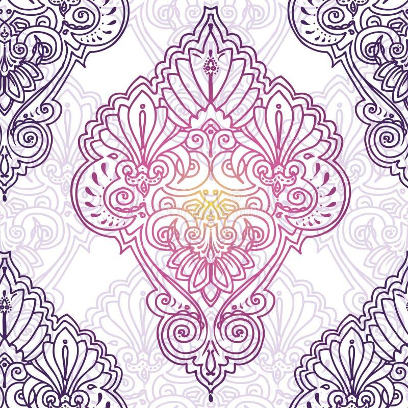 Olśniewający ornament na białym tle w boho stylu royalty ilustracja