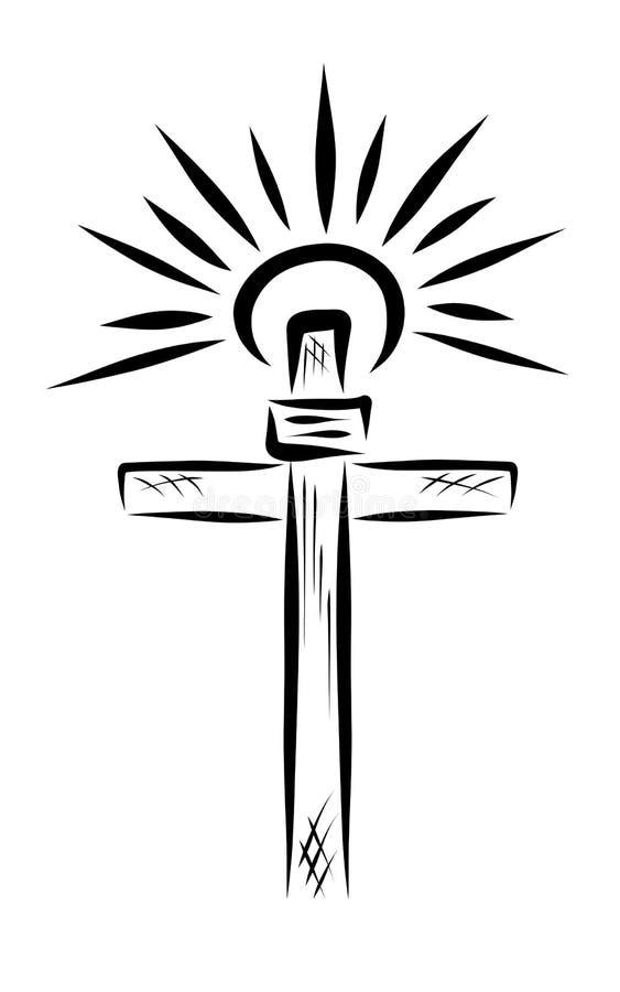 Olśniewający słońce nad biblijny krzyż ilustracji