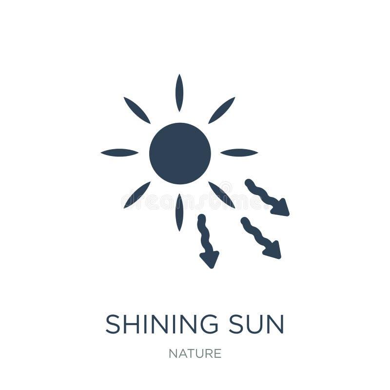 olśniewający słońce z promień ikoną w modnym projekta stylu olśniewający słońce z promień ikoną odizolowywającą na białym tle olś ilustracji