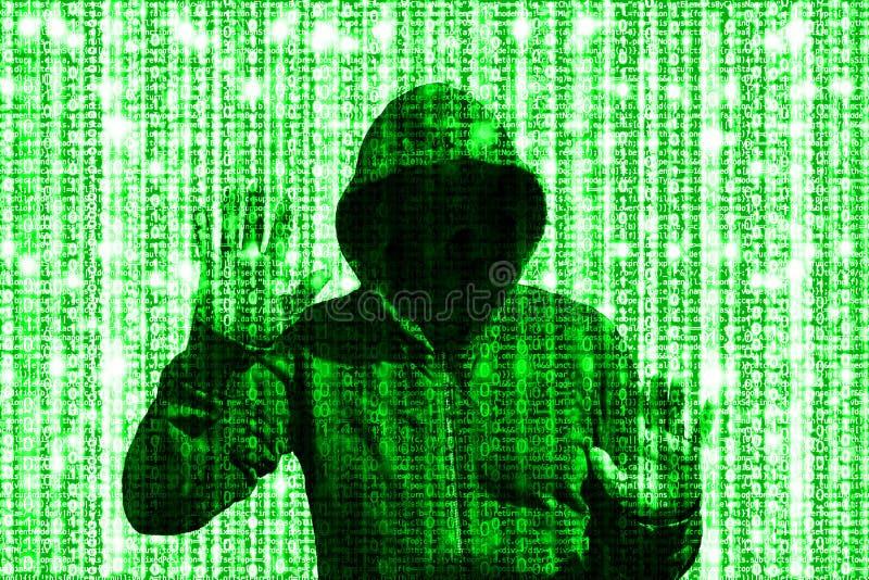 Olśniewający zielony hacker za komputerowego kodu matrycą obraz royalty free