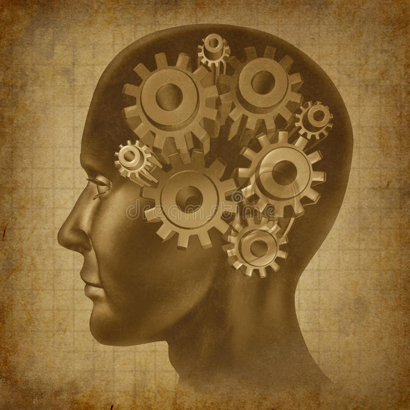 Ol grunge antique d'esprit de fonction de cerveau d'intelligence illustration libre de droits