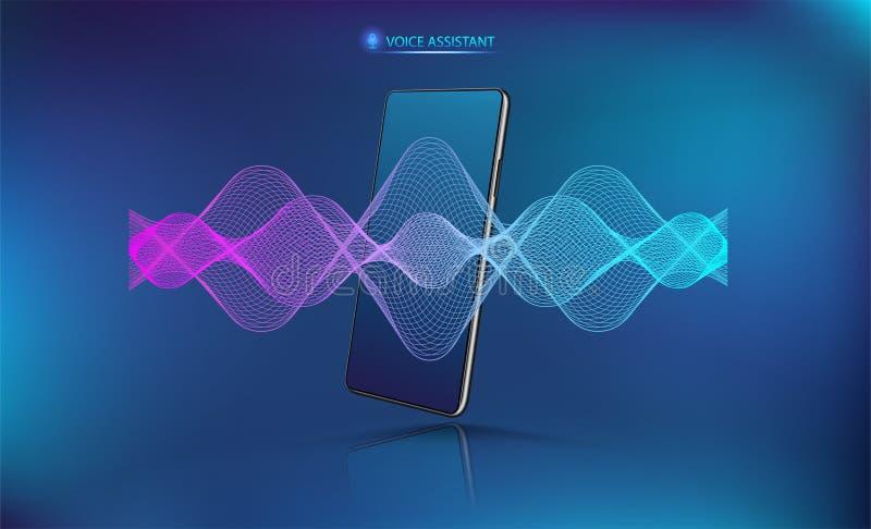 Ola de sonido de asistente de voz con burla de smartphone libre illustration