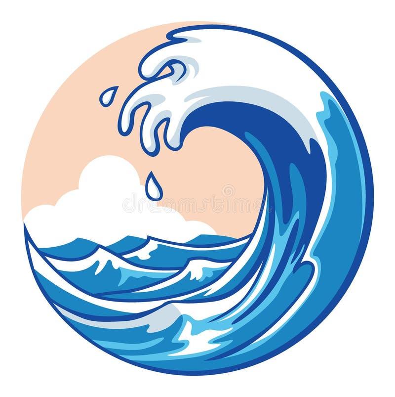 Ola oceánica stock de ilustración