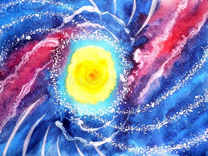 Ola oceánica abstracta del mar, pintura de la acuarela del universo del sol fotografía de archivo libre de regalías