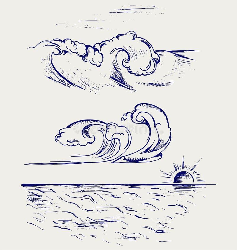 Ola oceánica hermosa ilustración del vector
