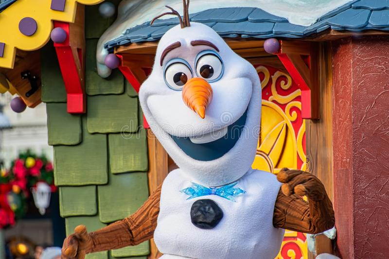 Olaf snowman in the Christmastime Parade. At Magic Kingdom royalty free stock photography