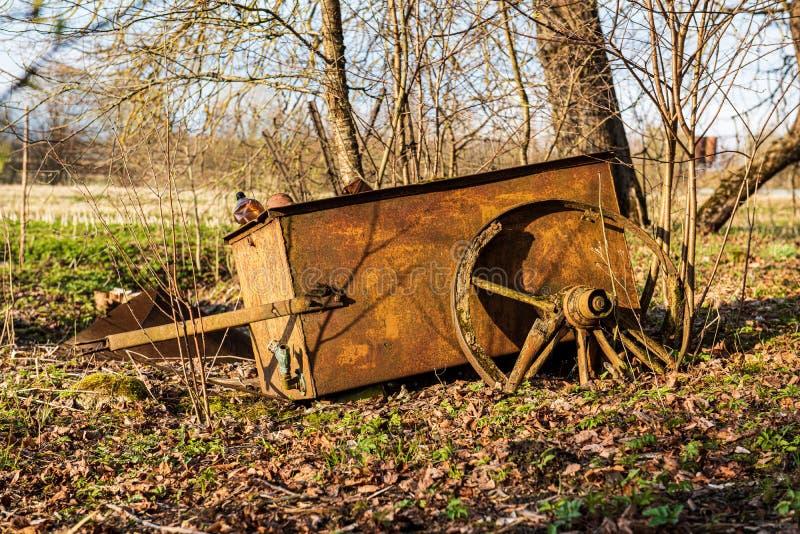 olaglig dumpster i träskogen i sommar royaltyfri fotografi