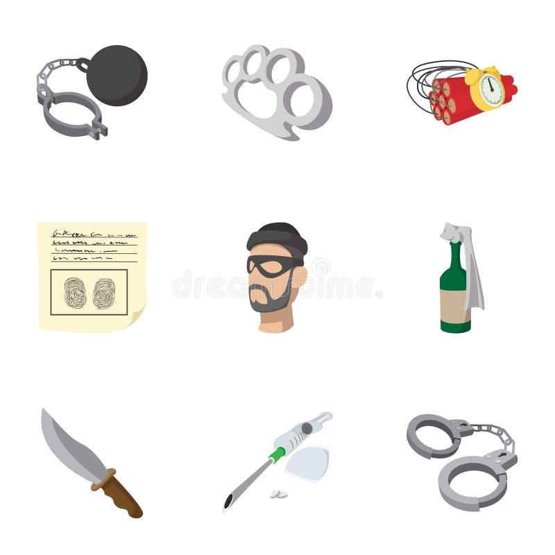 Olagliga handlingsymboler uppsättning, tecknad filmstil royaltyfri illustrationer
