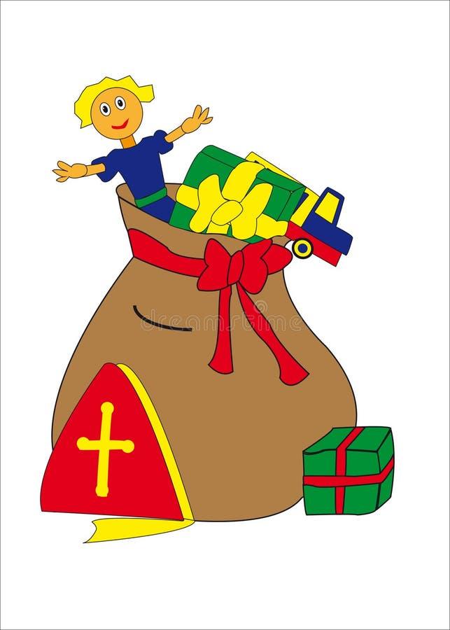 Olandese Sinterklaas della borsa illustrazione di stock