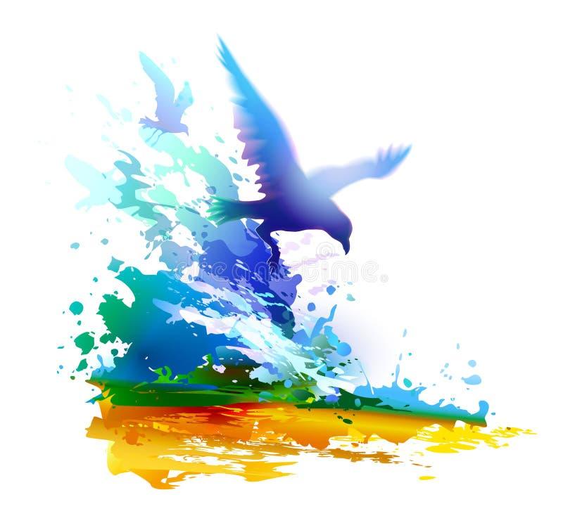 Olas oceánicas y pájaros de vuelo Gaviotas stock de ilustración