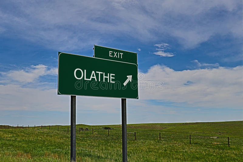 Olathe. US Highway Exit Sign for Olathe HDR Image royalty free stock images