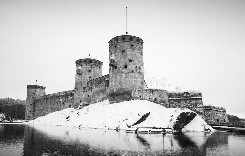 Olavinlinna castle, black and white photo stock photography