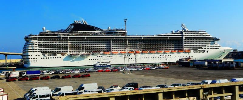 Giant passenger ship moored in Barcelona, Spain. stock photos