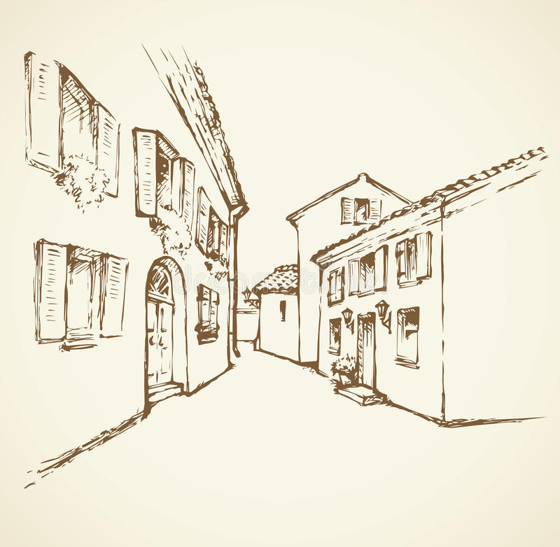 Old сity street. Vector drawing royalty free illustration