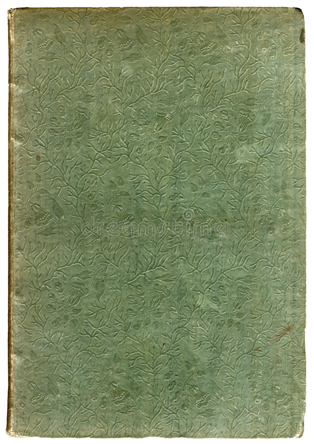 Old 1830s book cover. Close up reveals an embossed tree-branches and leaves embossed pattern stock photos