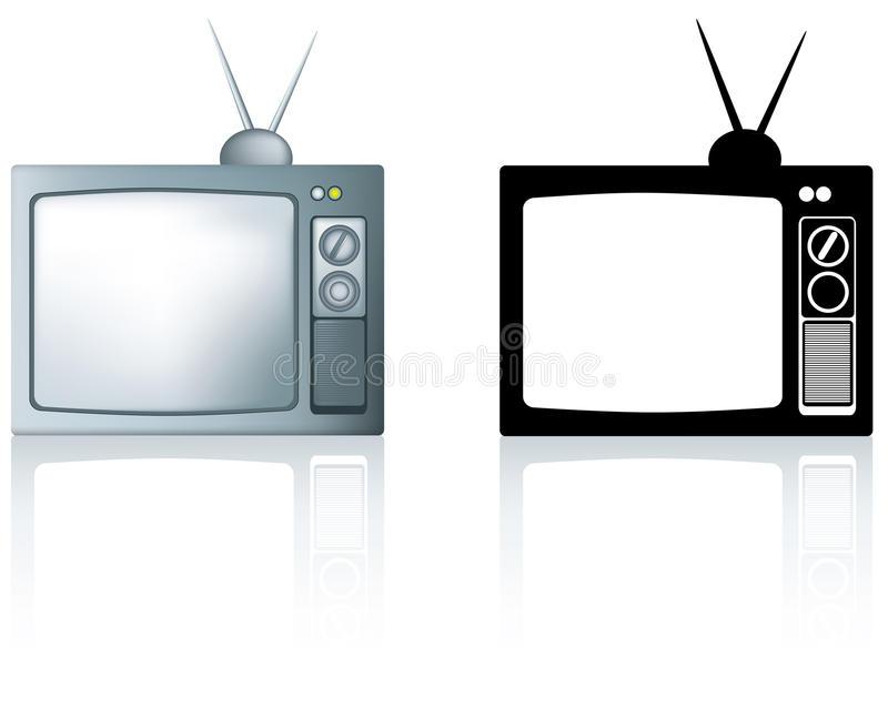 Download Old 1980's Style Metal Portable Tv Stock Illustration - Image: 20319791