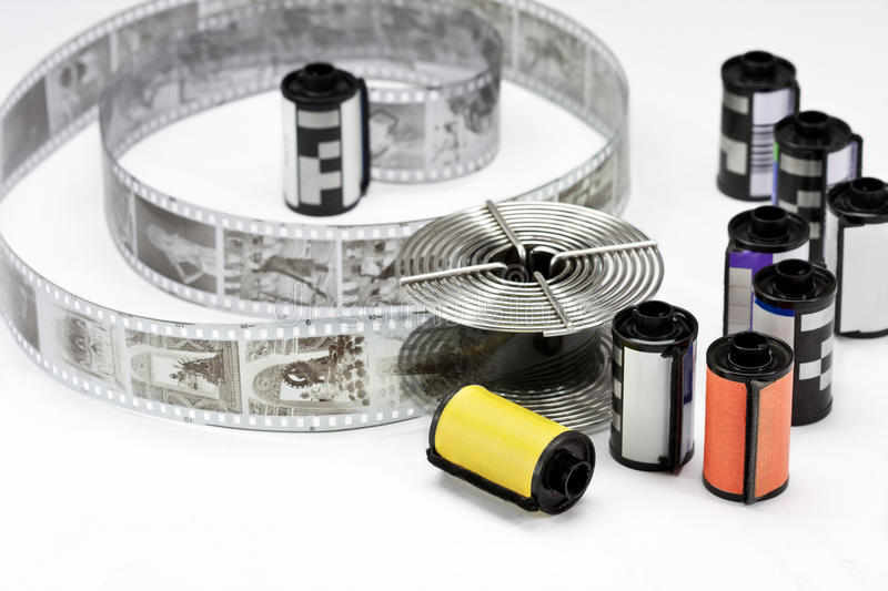Old 35 mm film and reel royalty free stock photos