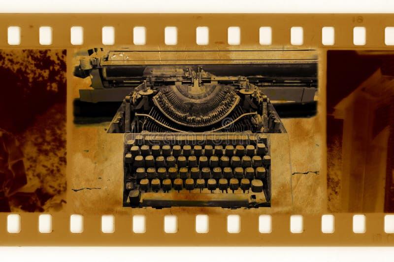 Old 35mm frame photo with vintage typewriter vector illustration