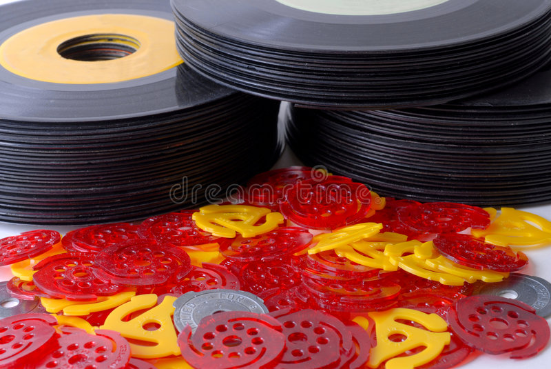 Old 45 Records royalty free stock photos
