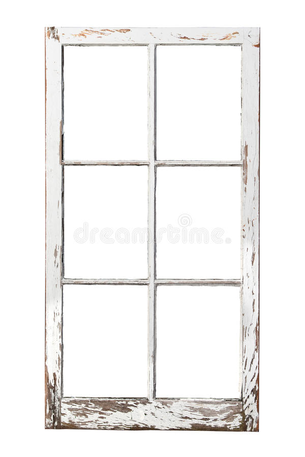 Free Old 6 Pane Window On White Stock Photography - 26487122