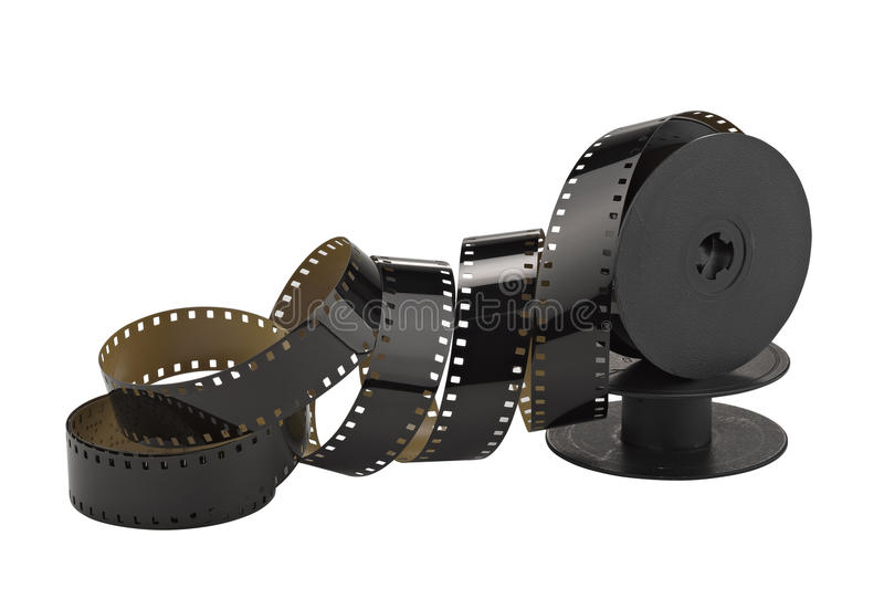 Old 8mm cine film and reel stock image