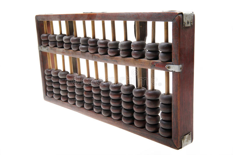 Old abacus. Chinese old abacus isolated on white stock image