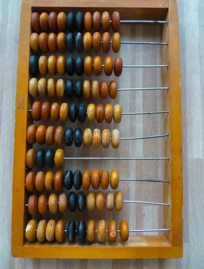 The old abacus, with the help of which produced all mathematical calculations in the middle of the last century royalty free stock photography