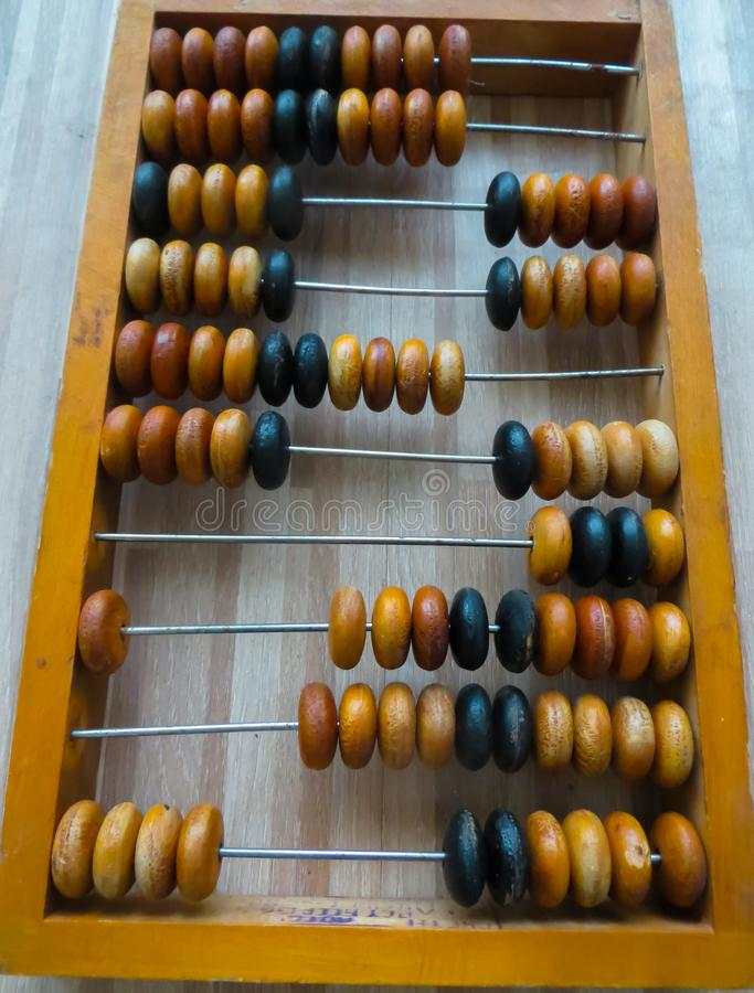 The old abacus, with the help of which produced all mathematical calculations in the middle of the last century royalty free stock image