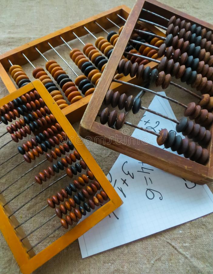 The old abacus, with the help of which produced all mathematical calculations in the middle of the last century royalty free stock images
