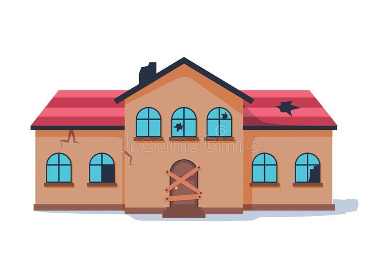 Old abandonded house cartoon vector illustration. Decaying suburban cottage with broken windows. Vintage architecture for restoration. Ruined exterior of real royalty free illustration
