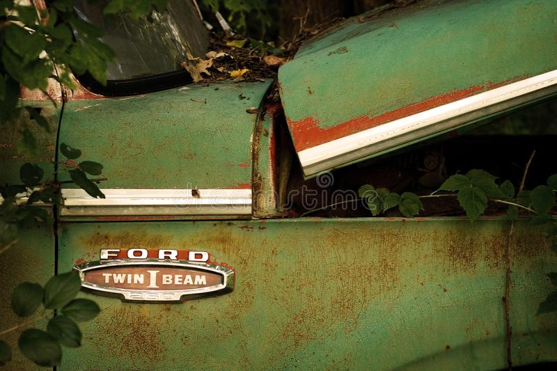 Abandoned Antique Ford Twin I Beam Pickup stock image