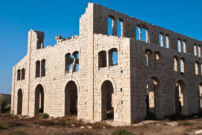 Old abandoned brick factory in Sicily stock photo