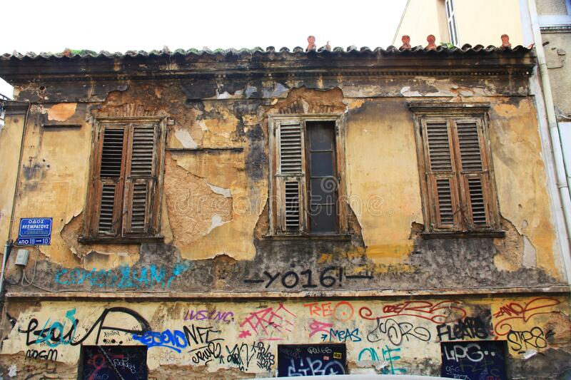 Old Abandoned Building with Graffiti in Athens, Greece royalty free stock photo