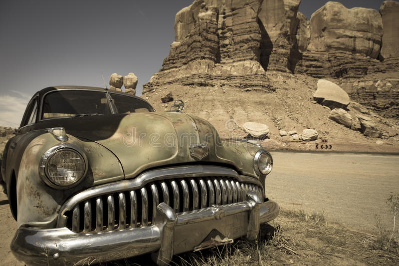 Old abandoned car stock photography