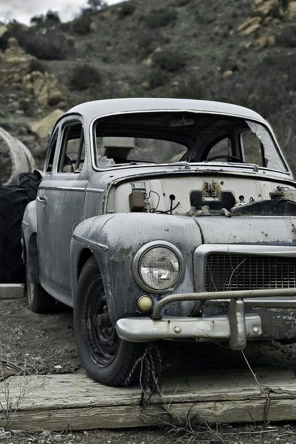 Old abandoned car stock photo