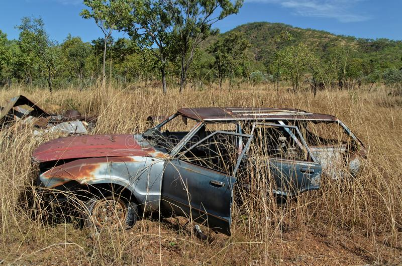 Abandoned Car In Amongst The Grass royalty free stock photos