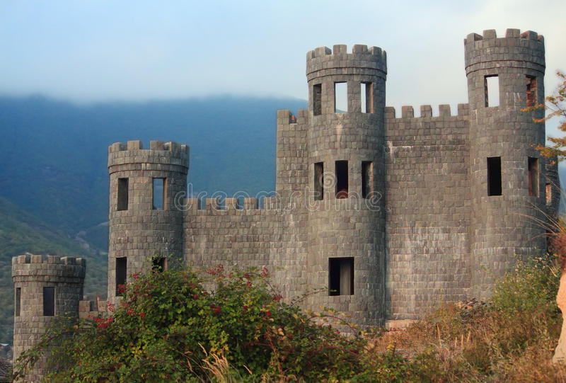 Old abandoned castle in Shaki stock photos