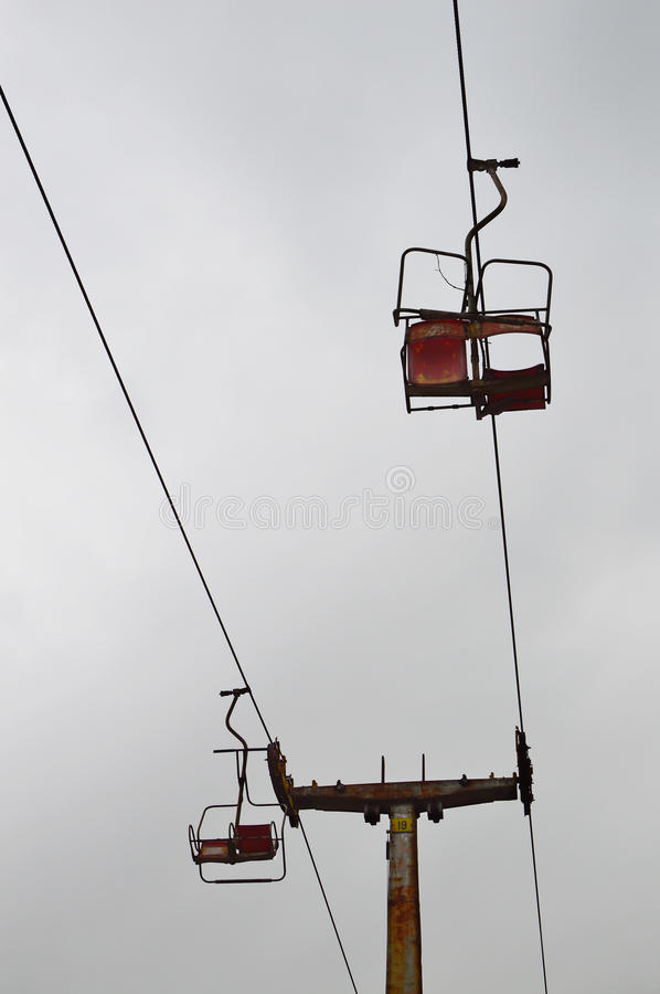 Old abandoned chairlift stock photography