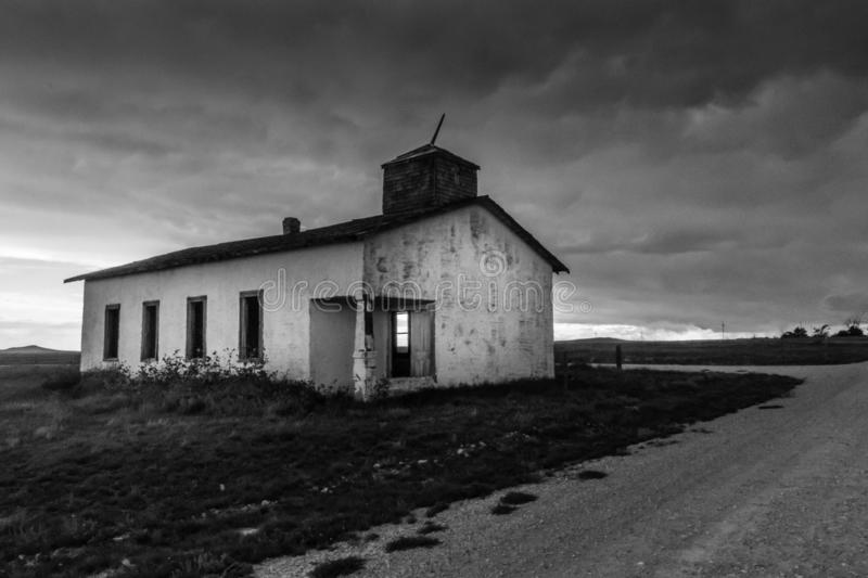 Old Abandoned Church in New Mexico, Black and White royalty free stock image