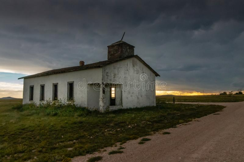 Old Abandoned Church in New Mexico. Storm clouds forming over an old abandoned church in Northern New Mexico royalty free stock photos
