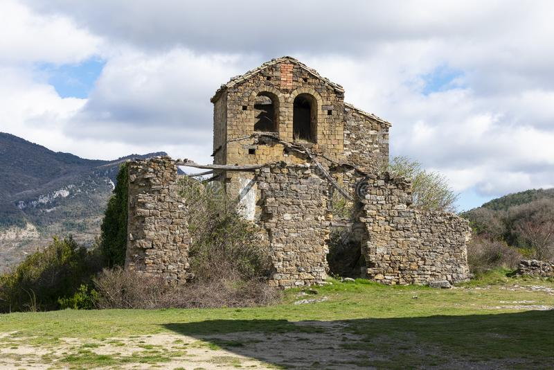 Old abandoned church in ruins. In Navarra, Spain royalty free stock photos