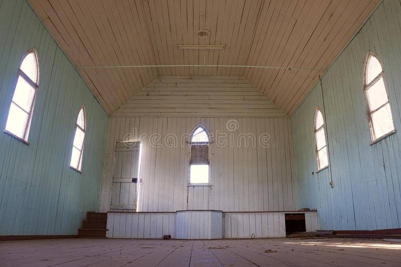 Download Old Abandoned Country Church Interior Stock Image