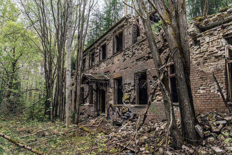 Old abandoned and dacayed brick building in Sweden stock photos