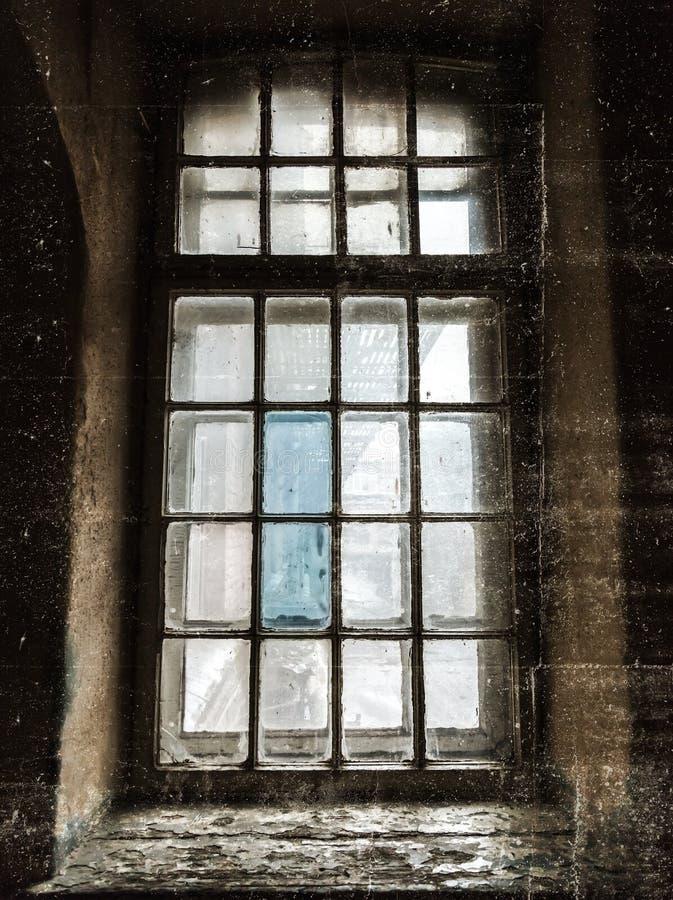 Old abandoned dark grunge window royalty free illustration