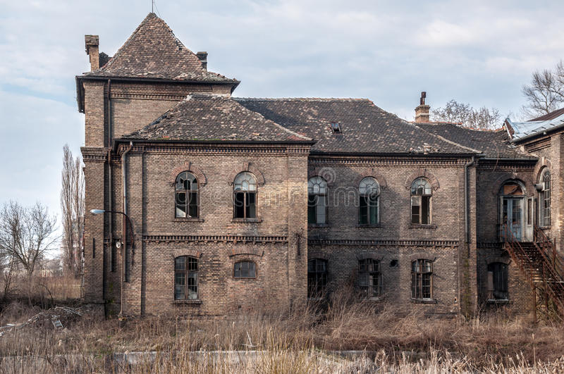 Old abandoned and destroyed house royalty free stock photo
